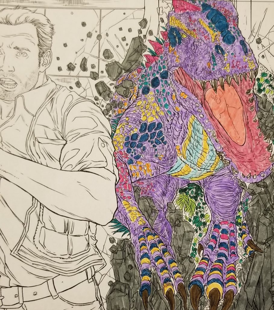 the Indominous Rex goes after Chris Pratt in the Jurassic World Coloring Book
