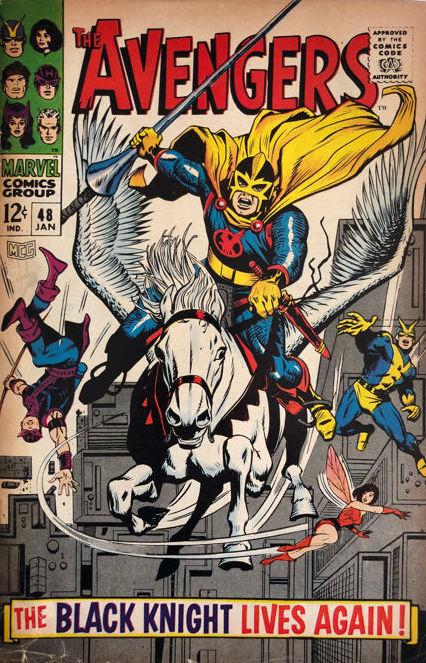 Black Knight's first cover, Avengers #48, George Tuska and Sam Rosen, Marvel COmics, 1968