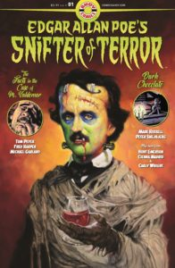 Edgar Allan Poe looking like Frankenstein's monster in Edgar Allan Poe Snifter of Terror #1 (Ahoy Comics, 2018)