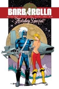 Barbarella Holiday Special (Dynamite Entertainment, December 2018) - A muscular figure in a blue jumpsuit and mask and a woman in a backless red bodysuit stand in front of a spaceship