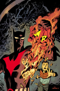 Batman Beyond burning the Robin Beyond costume