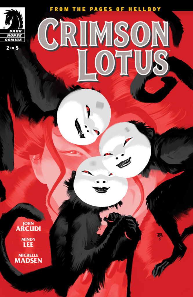 A woman's face appears in red behind three masked monkeys on the cover of Crimson Lotus #2
