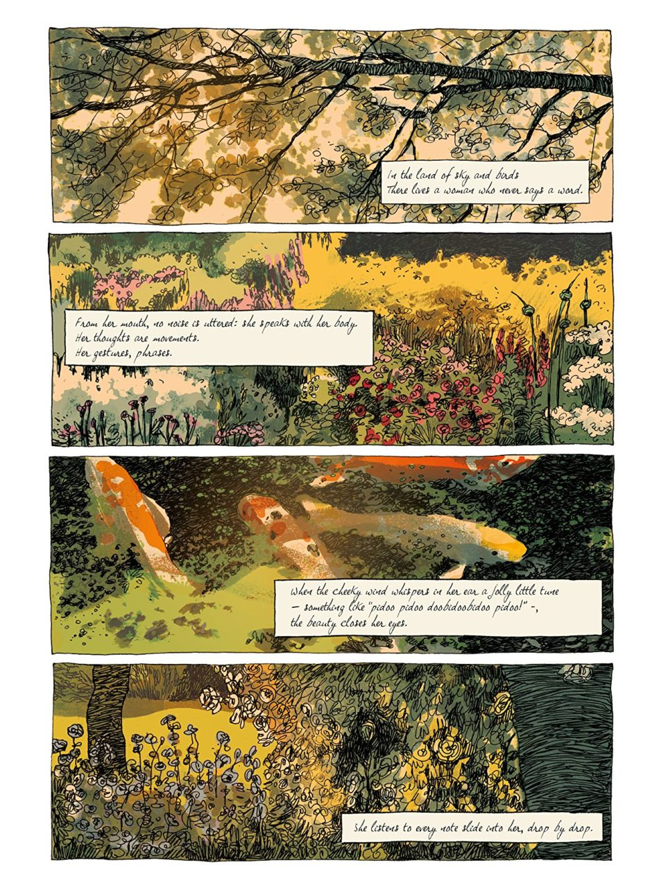 Poetry and gardens in Emma G Wildford page 3. Written by Zidrou, drawn by Edith. Published by Europe Comics. November 21, 2018