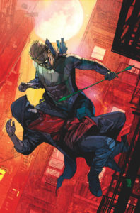 Green Arrow fighting the Citizen in midair