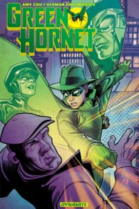 Cover for Green Hornet: Generations TPB Amy Chu (writer), German Erramouspe (artist), Anthony Margues (editor), Tom Napolitano (letterer), Brittany Pezzillo (colourist) Dynamite Entertainment October 2018 - The Green Hornet, a figure in emerald green domino mask, fedora, cape, and gloves, knocks out a poboy-capped villain