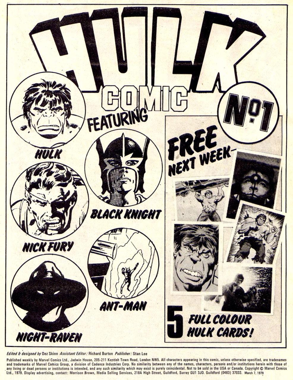 HULK COMIC intro page, 1979, Marvel UK, designed & edited by Dez Skinn