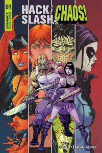 Hack/Slash vs Chaos #1 CRANK! (letters), Dee Cunniffe (colourist), Kevin Ketner (editor), Rapha Lobosco (arist), Tim Seeley (writer, artist) December 2018 - Two figures, a thin woman holding a baseball bat and a muscular man holding knifes, against a background of four portraits: a red-skinned devilish woman, a figure with short red hair, green eyes and pale skin, a green-skinned figure with a wide grin filled with yellow teeth, and a pale woman in a domino mask with purple hair