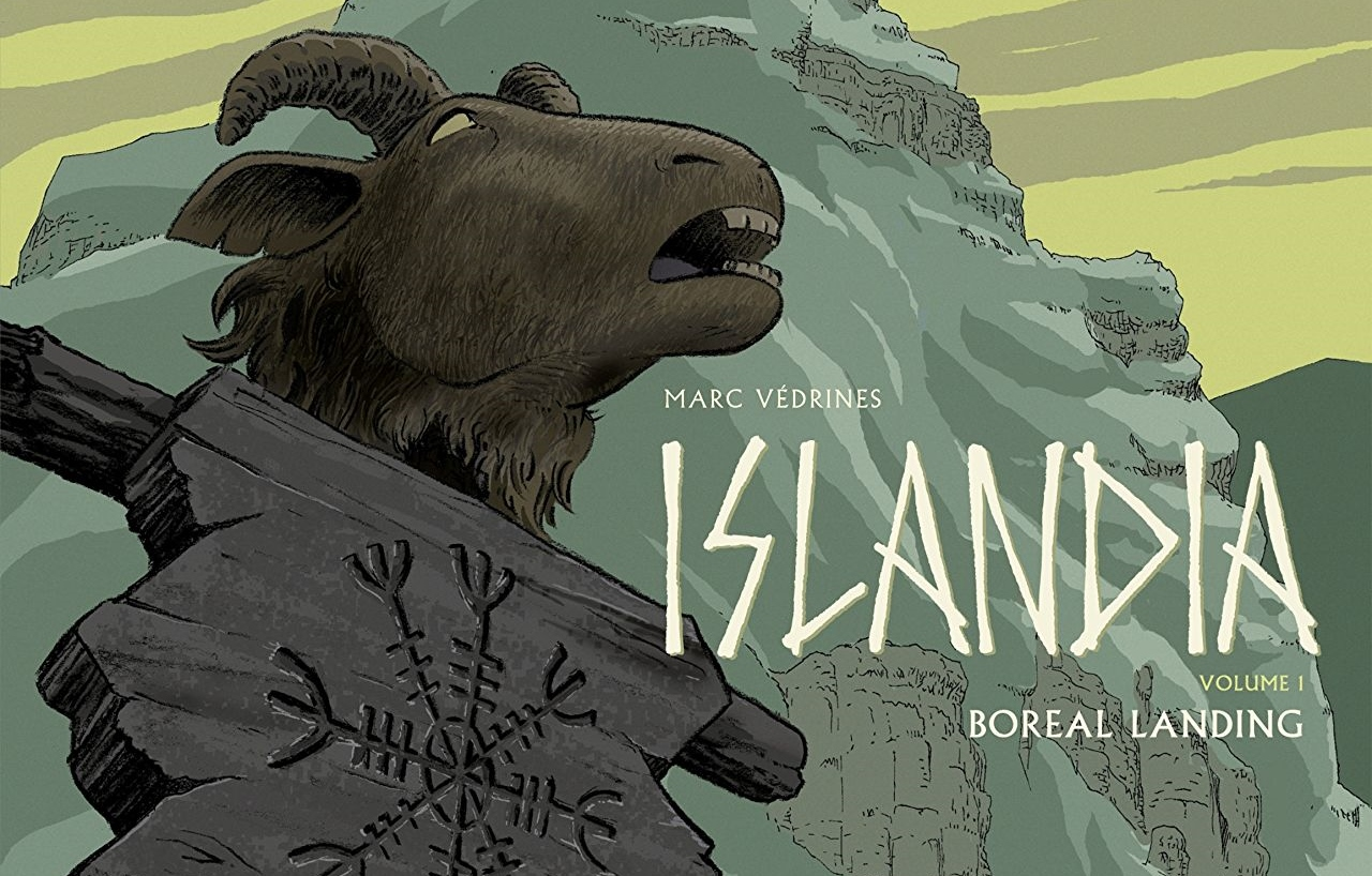 A goat's head on a spike in Islandia Volume 1. Written and drawn by Védrines. Published by Europe Comics. November 20, 2018.