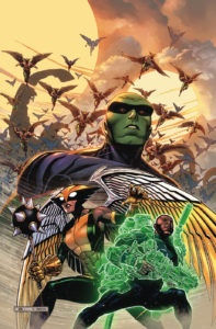 Martian Manhunter, Hawkgirl and Green Lantern on Thanagar