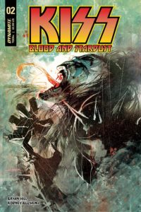 KISS: Blood and Stardust #2 Adriano Augusto (colourist), Rodney Buchemi (artist), Bryan Hill (writer), Kevin Ketner (editor), Troy Peteri (letterer) November 2018 - A long-haired demonic figure claws at the air, long tongue protruding from an open red mouth in a face painted white and black