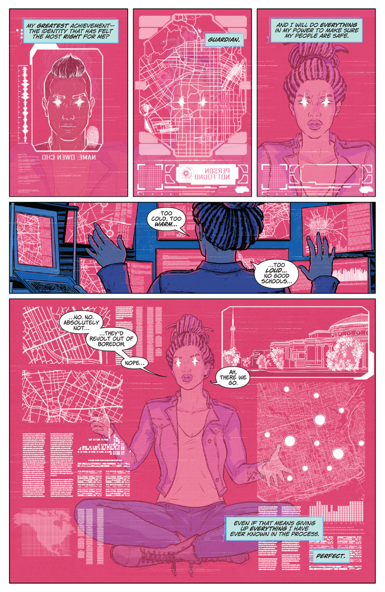 Livewire searches for a meeting place in Livewire #1 page 5. Written by Vita Ayala, drawn by Raúl Allén and Patricia Martín. Published by Valiant Comics. December 19, 2018.