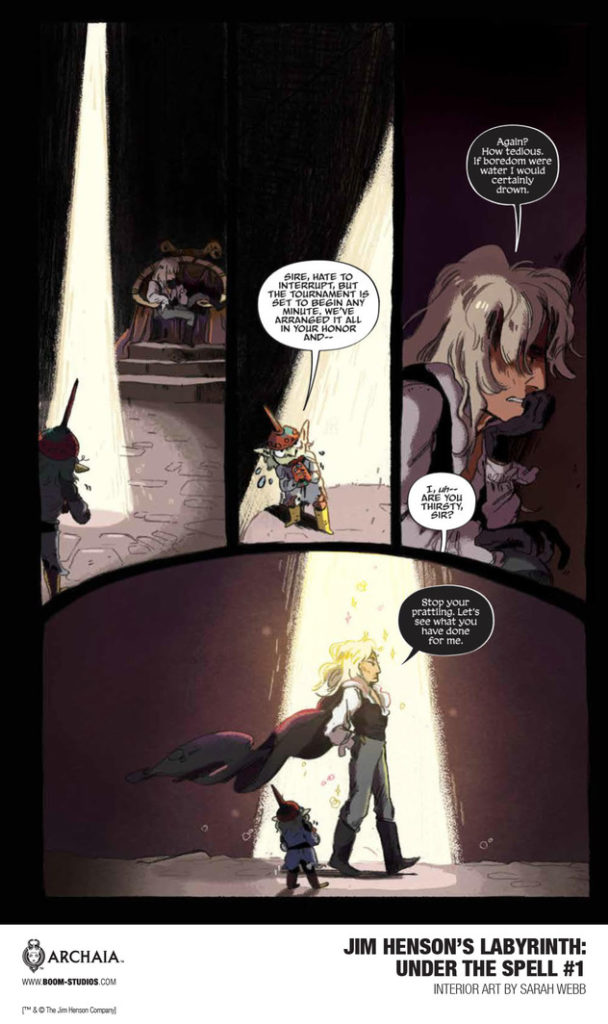 Panel from Jim Henson's Labyrinth: Under the Spell #1 - Jareth broods in a throne room, interrupted by a bite-sized minion