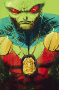 Martian Manhunter wearing a badge