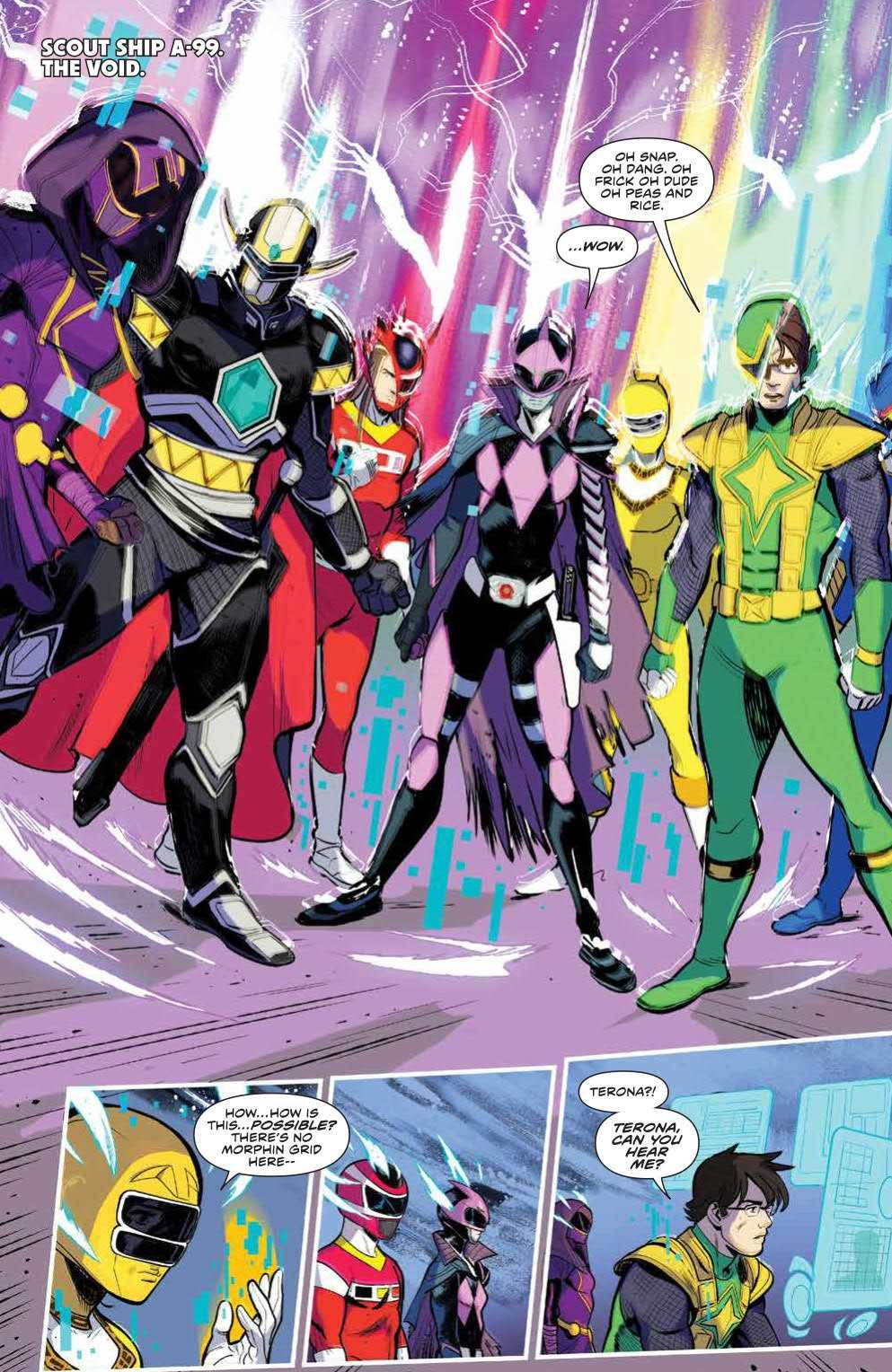 The Power Rangers wonder about their sudden ability to morph again in Mighty Morphin Power Rangers #34 Page 3. Written by Marguerite Bennett and drawn by Simone Di Meo. Published by BOOM! Studios. December 26, 2018
