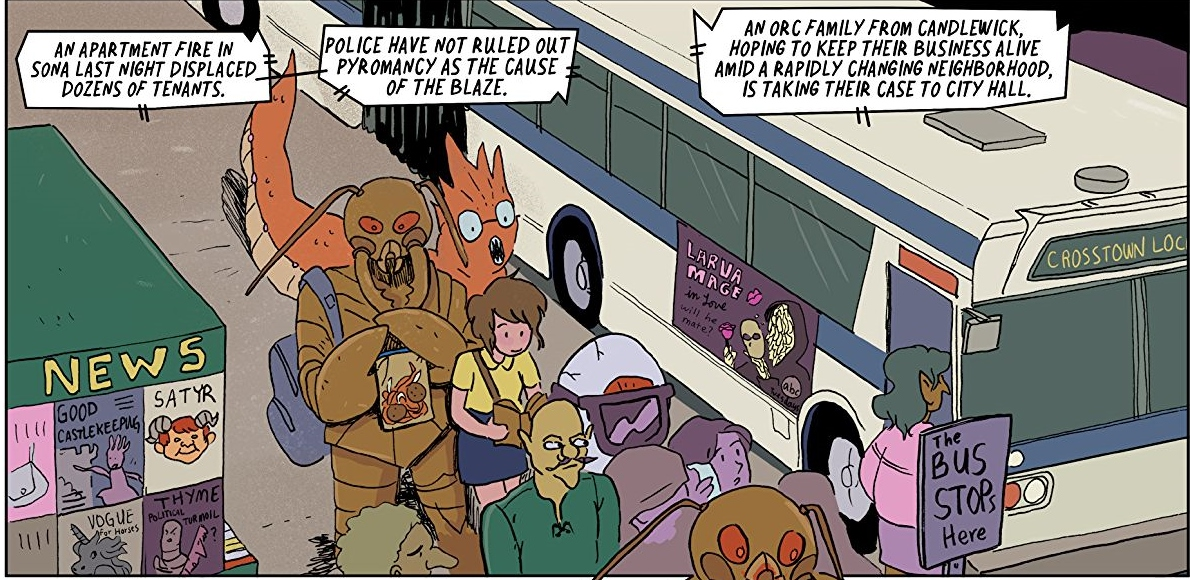 Sage goes to take a bus in Modern Fantasy page 9. Written by Rafer Roberts and drawn by Kirsten Gudsnuk. Published by Dark Horse Comics. 9 January 2019.