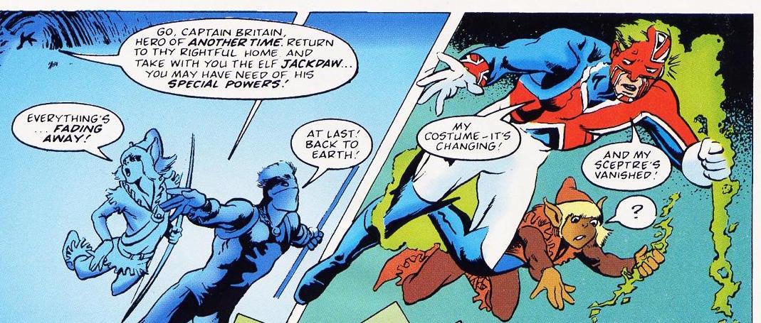 Captain Britain costume change, Alan Davis & Dave Thorpe, Marvel Superheroes #377, 1981, Marvel UK