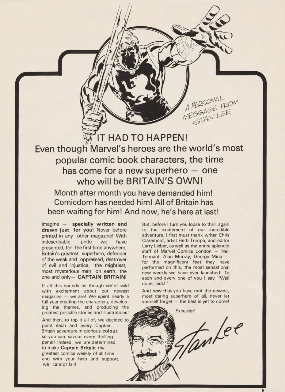 Stan Lee's letter to Britain, Captain Marvel Weekly. 1976