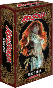 Red Sonja Tarot Cards (Dynamite Entertainment) - Red Sonja in a chainmail bikini points her sword at the viewer