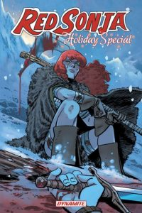 Red Sonja Holiday Special (Dynamite Entertainment, December 2018) - Sonja sits in a snowy landscape looking frustrated; a hand holding a sword on top of blood-stained snow is in the foreground