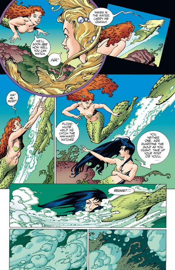The Rhine maidens in The Ring of the Nibelung TPB page 18. Written and drawn by P. Craig Russell. Published by Dark Horse Comics. January 2, 2019.