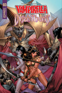 Vampirella/Dejah Thoris #3 (Dynamite Entertainment, November 2018) - Vampirella and Dejah Thoris face off against an enemy with a spear and a grey-skinned figure resembling an Egyptian pharaoh