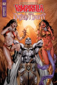 Vampirella/Dejah Thoris #2 (Dynamite Entertainment, October 2018) - A muscular, white-skinned male figure holds Dejah and Vampirella up by their necks as they struggle