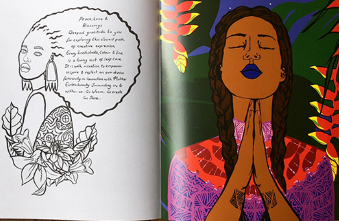Coloring page of woman with indecipherable writing in her hair; opposite page is full-color image of a Black woman with eyes closed and hands folded in prayer under a night sky.