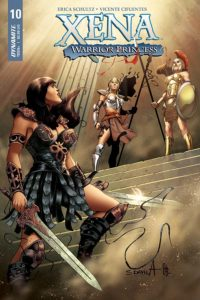 Xena #10 Vicente Cifuentes (artist), Matt Idelson (editor), Periya Pillai (colourist), Cardinal Rae (letterer) Erica Schultz Dynamite Comics December 2018 - Xena stands on a staircase holding two swords, looking up at two female figures in centurion-like outfits holding crossed spears