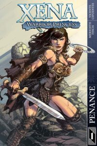 Cover for Xena Volume 1 (Dynamite Entertainment, September 2018) - Xena wields her sword in one hand and circular chakram in the other as she strikes a pose, looking at the viewer with a determined expression
