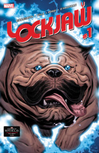 A giant dog races toward the reader in Lockjaw #1 (Marvel Comics, 2018)