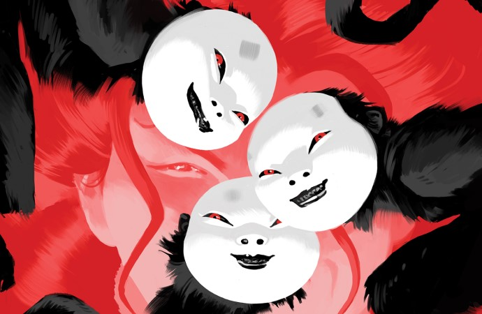 A woman's face appears in red behind three masked monkeys