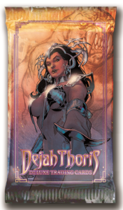 Dejah Thoris Trading Cards (Dynamite Entertainment) - A dark-haired woman, wearing an ornate crown and shoulder armor with most of the rest of her torso exposed, points a sword at the viewer
