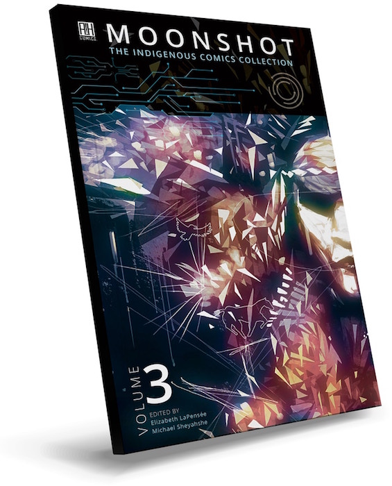 A mockup of MOONSHOT 3. The cover is a impressionistic, striking rendering of a face wearing indigenous-styled makeup and a headband, with patterns like shattered glass and circuitry expanding outward from the portrait. Line silhouettes of animals are scattered among the pattern. The cover crops the face directly down its middle at the right edge of the book, and most of the cover is the radiating pattern; the portrait is done in shades of purple, orange, and white. MOONSHOT The Indigenous Comics Collection, Volume 3, Elizabeth LaPensée & Michael Sheyahshe, Alternate History Comics Inc., 2019.