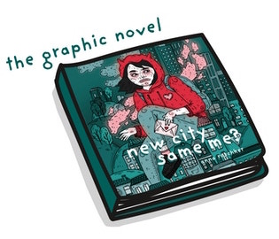 A drawing of the graphic novel form of new city - same me?. The cover is a self-portrait of Anna, a white woman with chin-length straight black hair, wearing a red horned hoodie and jeans, unnaturally huge and perched among the buildings of a city. Everything but Anna's hoodie and the smoke from her cigarette is in tones of dark gray-green. new city - same me?, Anna Roschker, 2019.