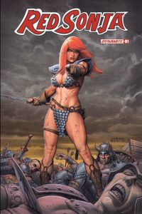 Joseph Michael Linsner's cover of Red Sonja #1 (volume 5, Dynamite Comics, February 2019) - Sonja points at the viewer, standing atop a pile of dead enemies