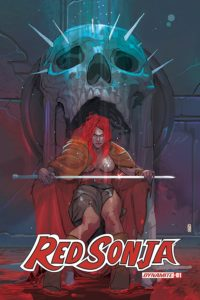 Christian Ward's cover of Red Sonja #1 (volume 5, Dynamite Comics, February 2019) - Sonja sits on a throne that resembles an open-mouthed skull, holding a longsword