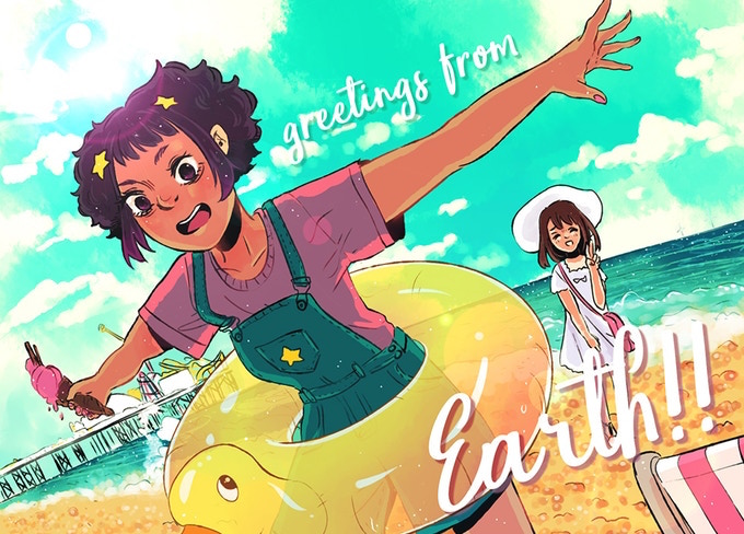 "An illustration of Star and Zoe, designed after a wish-you-were-here postcard. Star, a brown-skinned, fluffy-haired girl wearing a purple t-shirt, blue overalls, and a bright yellow inner tube, swoops towards the camera with her arms outstretched; Zoe, a light-skinned girl with straight brown hair, stands in the background, wearing a white sundress and hat and flashing a peace sign. The girls are at the beach, and the text reads ""greetings from Earth!!"" Star Bright, Alice Clarke & Rob Zwetsloot, 2019."