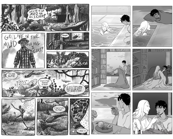 "Two pages of comics from STRANGE WATERS. The one on the left (by Rowan Fridley) depicts a strange, lanky fungus creature (?) and the refrain ""GO LIVE IN THE MUD FOR ALL I CARE."" The page on the left (by Skylar Kardon) depicts a short-haired human figure and a ghostly pale water... person going about their day. STRANGE WATERS: A Queer Fantasy Comic Anthology, GlimmeringAlder & Vexingly Yours, Haunted Cosmos, 2019."