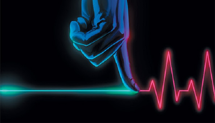 A blue shaded hand with a finger touching a blue line that becomes the red line of a heartbeat monitor