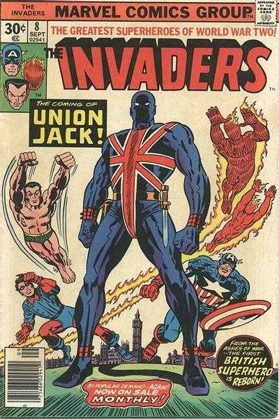 Kirby's cover for Invaders #8, Marvel 1976
