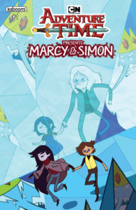 Cover for Adventure Time Presents: Marcy & Simon BOOM! Studios Slimm Fabert (artist), Mike Fiorentino (letters), SJ Miller (colors), Olivia Olson (writer) January 16, 2019 - Marceline leads Simon through an icy hallway, while the ice reflects images of young Marcy and Simon as well as the angry Ice King