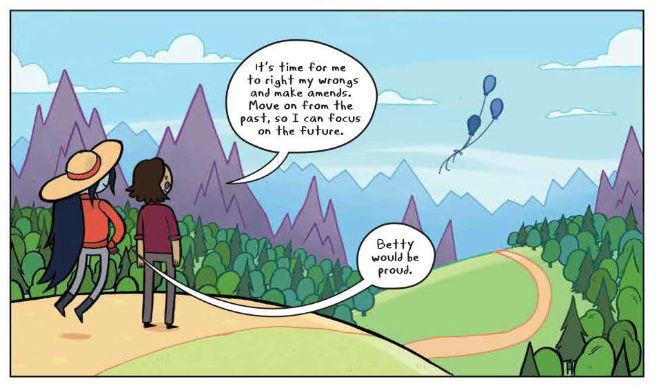 Panel for Adventure Time Presents: Marcy & Simon BOOM! Studios Slimm Fabert (artist), Mike Fiorentino (letters), SJ Miller (colors), Olivia Olson (writer) January 16, 2019 - Simon and Marceline look out over a hill to a few balloons drifting away into the air, as Simon comments that it's time for him to right his wrongs and move on from the past