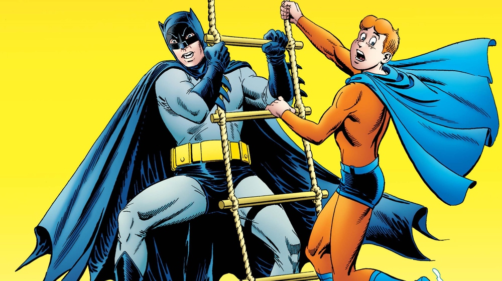 Batman and Archie hang on for dear life in Archie Meets Batman '66 #6: The Batman of Riverdale Cover C. Written by Jeff Parker and Michael Moreci, drawn by Dan Parent and J Bone. Archie Comics and DC Entertainment. January 9, 2018