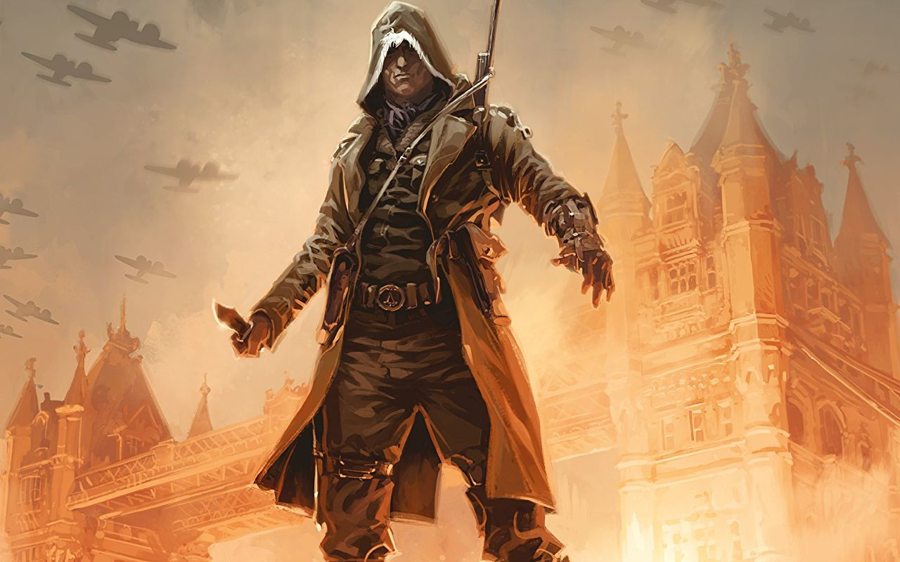 Assassin's Creed Conspiracies Volume 1. Written by Guillaume Dorison, drawn by Jean-Baptiste Hostache. Published by Titans Comics, December 19, 2018 - A cloaked, hooded Assassin holding a knife stands before some European-looking architecture