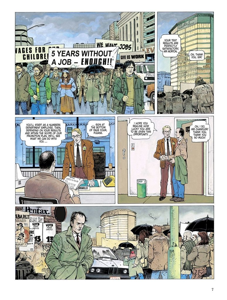 Unemployment protests frame the protagonist's new job offer in Authorised Happiness Volume 1 page 9. Written by Jean Van Hamme; drawn by Griffo. Published by Dupuis (French), and Cinebook (English). January 24, 2019