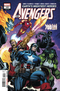 Cover for Avengers #10 - Various Avengers, including Captain America, Thor, and She-Hulk, pose in preparation for battle