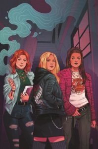 Jen Bartel cover for Buffy the Vampire Slayer: Welcome Back to Hellmouth #1, Jordie Bellaire (writing); Dan Mora (art); Raul Angulo (colors); Ed Dukeshire (Lettering); Matthew Taylor, Kevin Wada, Dan Panosian, Kaiti Infanti, George Schall, Jonathan Case, Miguel Mercado, Jen Bartel, Becca Carey, Royal Dunlap (covers), Copyright January 2019, Boom!Studios