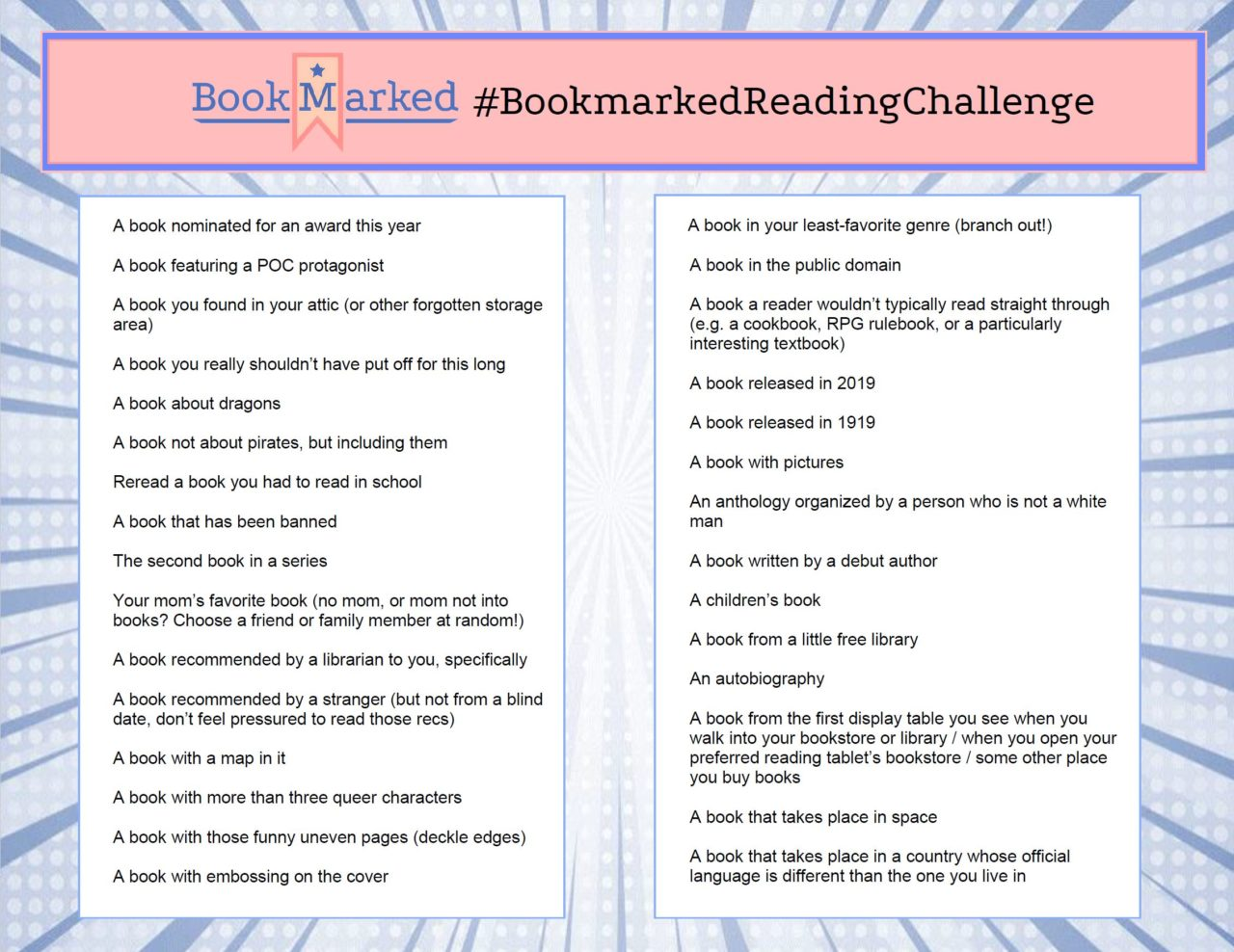 Bookmarked Reading Challenge (banner designed by Paige Allen)