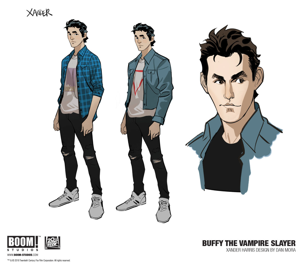 BOOM! Buffy the Vampire Slayer 1, Jordie Bellaire, Dan Mora, Raul Angula, Ed DUkeshire, 2019 - Character sketches for Xander, wearing ripped black skinnies and a t-shirt with a plaid overshirt and green jacket styled over it