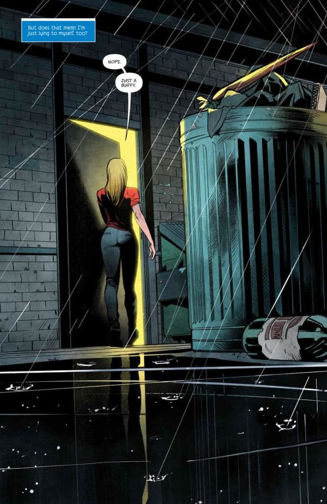 Panel from the prologue of Buffy the Vampire Slayer: Welcome Back to Hellmouth #1 Jordie Bellaire (writing); Dan Mora (art); Raul Angulo (colors); Ed Dukeshire (Lettering); Matthew Taylor, Kevin Wada, Dan Panosian, Kaiti Infanti, George Schall, Jonathan Case, Miguel Mercado, Jen Bartel, Becca Carey, Royal Dunlap (covers), Copyright January 2019, Boom!Studios